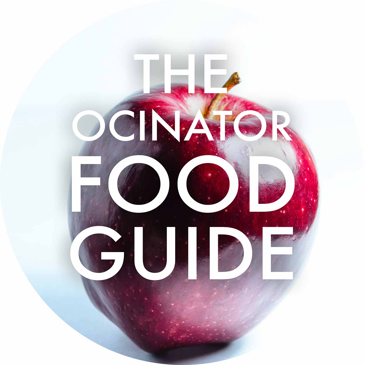 The Ocinator Food Guide Front Cover Circle